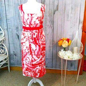 Eva Mendes Tropical Midi Sheath Dress Size 4